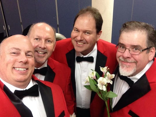 Snafu, a quartet of Salem SenateAires Men's Chorus, won the state competition last weekend in Portland and qualified for this fall's district competition. Members include (from left): Rick LaRosa, lead; Tim McCormic, baritone; Dean Waters, tenor; and Steve Morin, bass.