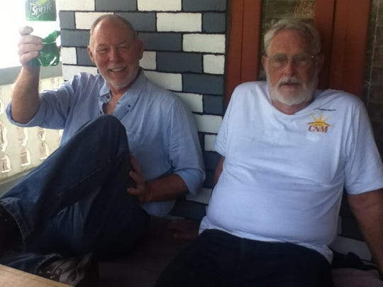 Bill Warne and Doug Brown take a moment to catch their breaths