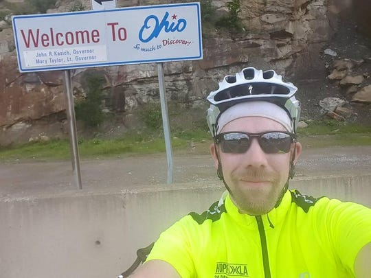 Doug Rousar made it to Ohio on Day 6 of his 30 day bike ride across the country for his foundation Hope for XLA.