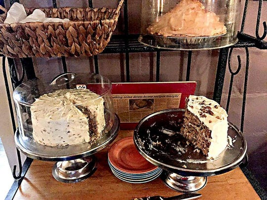Mammy's Cupboard offers fresh-made pies and cakes for dessert. The hummingbird cake, lower right, was excellent.