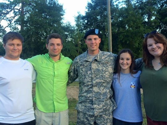 Making the trip to Family Day at Fort Benning were (from left) Ben Shelton, Zachary Smith, Michael Smilie, Maria Gallent and Jennifer Smilie.