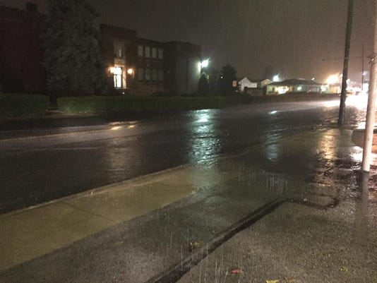 Flooding in front of Delone Catholic.