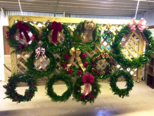 Fresh handmade wreaths for sale that are made right on the farm.