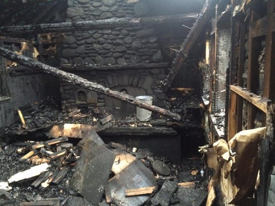 "The Stone Hut on Mount Mansfield's ""Nose"" is seen after a Christmas Eve fire was extinguished."