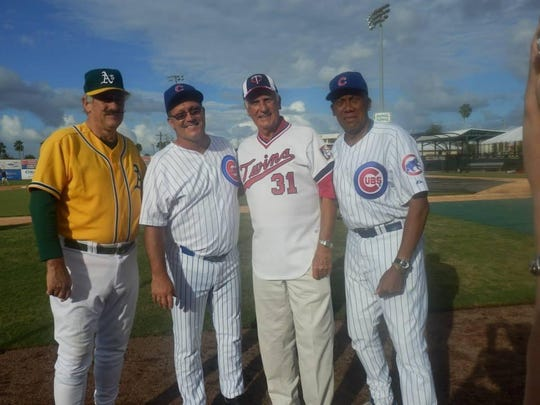 Butch Benton, second from left, with fellow former major-league players, left to right, Rollie Fingers, Jim Perry and Ferguson Jenkins.