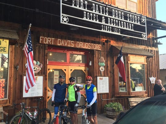 Matt Kerr, Don Hemmenway and John Fahnestock stop at Fort Davis Drug Store in Texas. It is owned by descendants of Jefferson Davis.