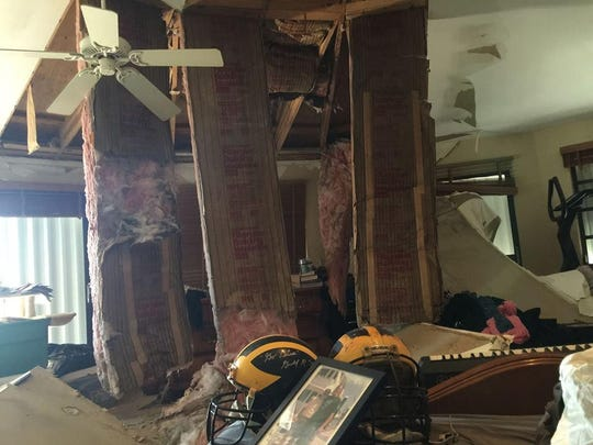 The hurricane Irma-trashed bedroom of former University of Michigan player Steve Everitt and his wife Amy Everitt. Everitt is tapping his Wolverine connections to raise money for hurricane relief.