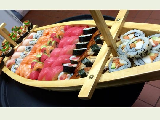 A sushi boat prepared for a custom banquet event at the American Hotel in Freehold.
