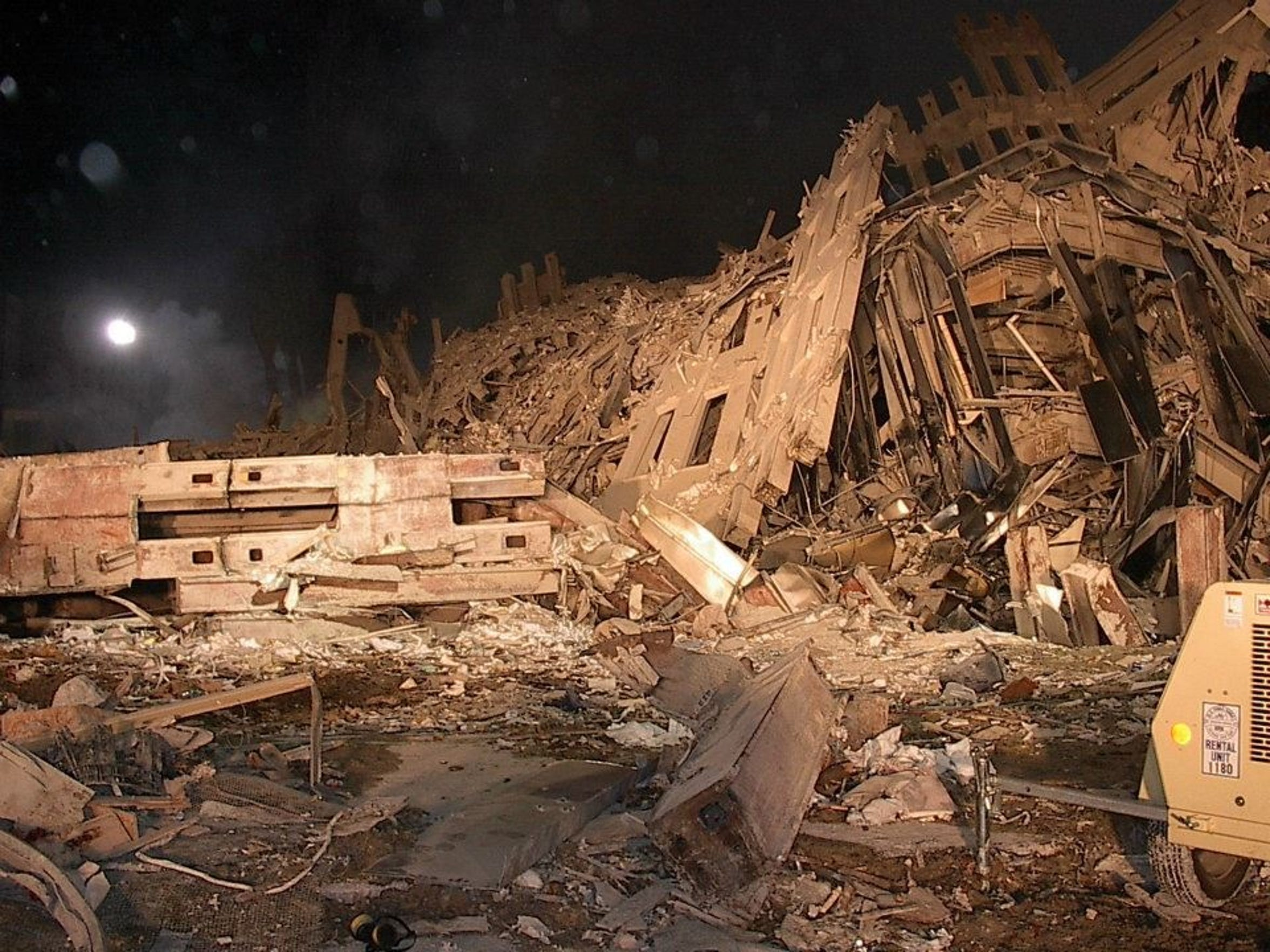 The World Trade Center site in New York City the night of Sept. 11, 2001. Photo courtesy of Nicholas Poliseno