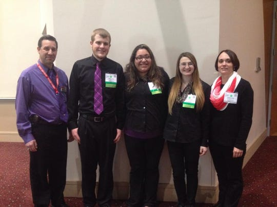 The Nekoosa ProStart team included Kale Clark, second from left, Maria Lopez, and Kelsea Schoen. The team's restaurant mentor is Don Thompson from Red Mill Supper Club is at far left, and the student's instructor, Laura Cronan is at far right.