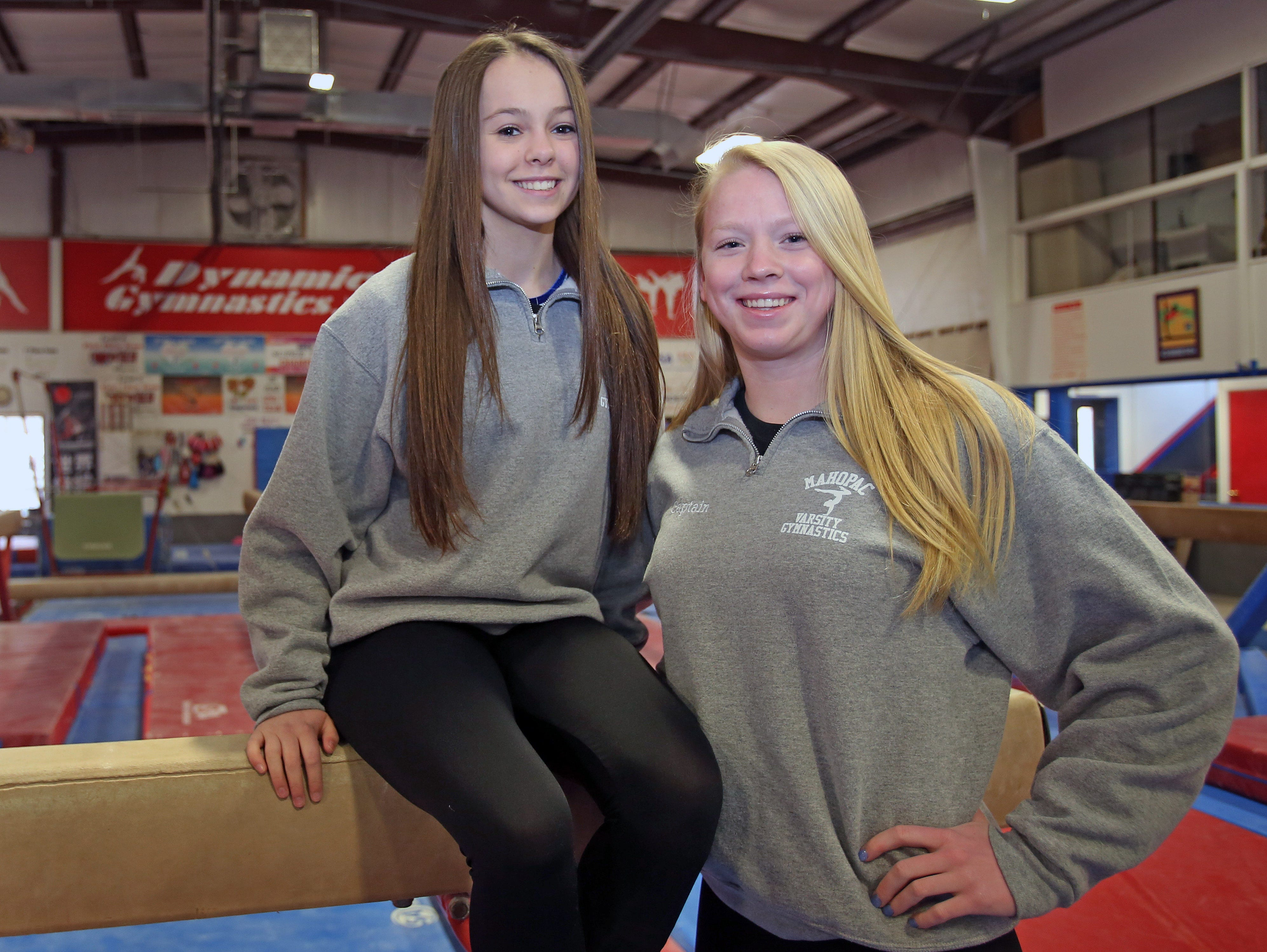 From left, Mahopac junior Callie Johanson and senior Katherine Dorovitsine are the Gymnastics co-players of the year. Johnson and Dorovistsine were photographed at Dynamic Gymnastics in Mohegan Lake on March 28, 2016.
