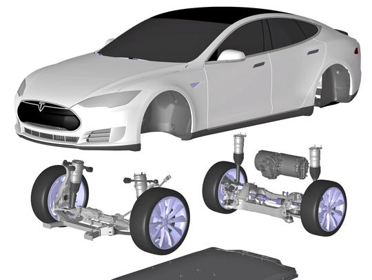 A cross-section of the battery-powered Tesla Model