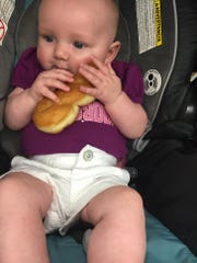 Madaline Simms, 4 months, will be the fourth generation to own Quality Bake Shop in Essex Junction.