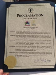 The proclamation for Galactosemia Awareness Day in