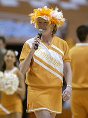 Lady Vols coach Pat Summitt wears a cheerleader uniform