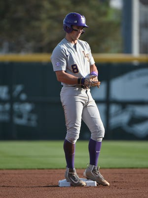 LSU's Cole Freeman stands on Second base  in the second game of the series, April 8, 2017 in Fayetteville, Arkansas. Photo by Chris Daigle Special to the Advertiser