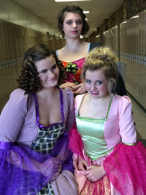 """The Stevens Point Area Senior High production of """"Cinderella"""" will feature Kara Milkowski as a stepsister, from left, Phoebe Janisch as the evil stepmother and Natalie Leek as the other stepsister."""