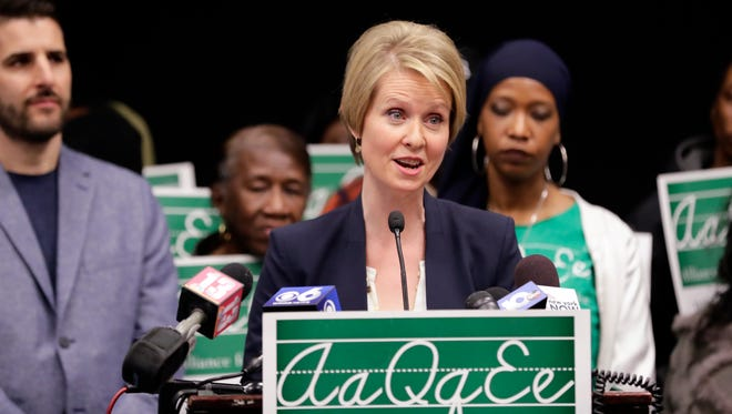 "Candidate for New York governor Cynthia Nixon speaks during a news conference Monday, March 26, 2018, in Albany, N.Y. The ""Sex and the City"" star and public education advocate is challenging Gov. Andrew Cuomo in September's Democratic primary."