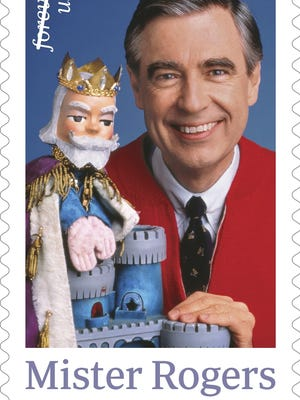 This image released by the U.S. Postal Service shows the Mister Rogers forever stamp which will go on sale on Friday, March 23.