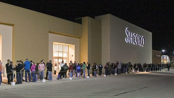 Long lines greeted shoppers outside Shopko during a past Black Friday sale event in Sheboygan.