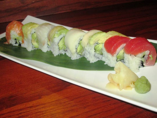 A rainbow sushi roll from Tokyo Sushi & Steakhouse