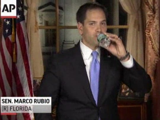 In this frame grab from video, Florida Sen. Marco Rubio takes a sip of water during his Republican response to President Barack Obama's 2013 State of the Union address.