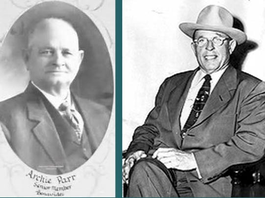 """Politics took center stage in San Diego. The """"patron system"""" – a.k.a. Boss Rule – took over South Texas.This was the scenario when the Parr family (Archie Parr, left, George Parr, right) took over in the 20th century."""