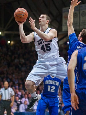 Butler's Andrew Chrabascz (45) took the ball to the basket through the Creighton defense in a game Feb. 13, 2014 at Hinkle Fieldhouse. Creighton won 68-63.