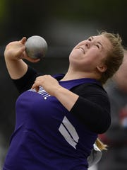Marinette's Emily Conley competes in the Division 2 shot put during Friday's WIAA state track and field meet at Veterans Memorial Stadium Complex in La Crosse.