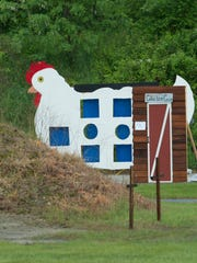 Big chicken target set up for the Delaware State Championship Cowboy Shoot in Sudlersville, Md.
