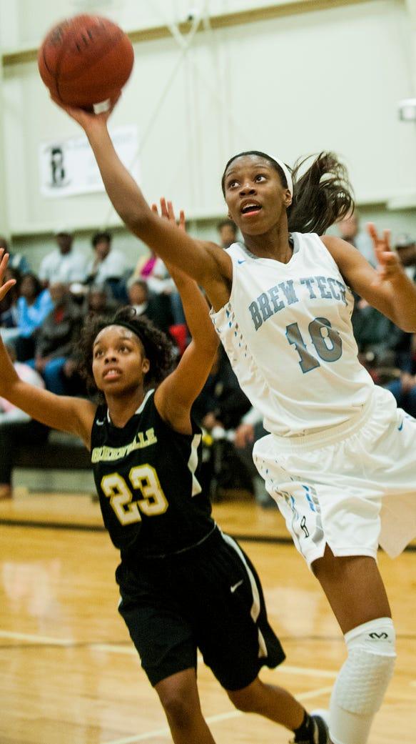 Brewbaker Tech's Bianca Jackson shoots against Greenville's