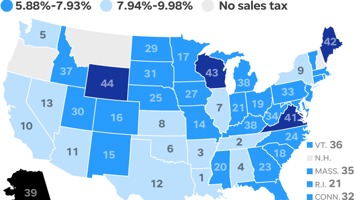 Map Of Florida Showing Cities.States With The Highest And Lowest Sales Taxes