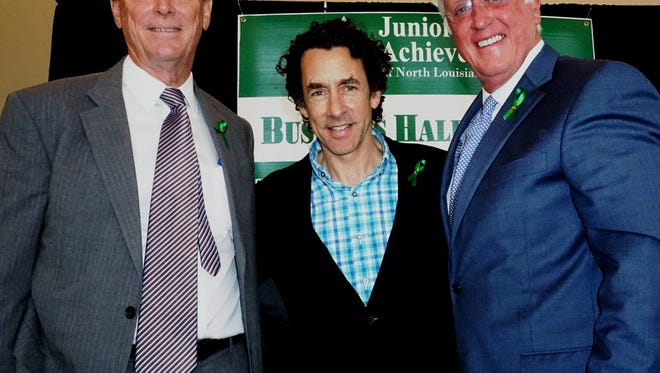 Jon Q. Petersen (left), president of Marlin Exploration and Petersen Enterprises, Gregory Kallenberg, founder and executive director of the Film Prize Foundation, and Jimmy Gosslee (right), chairman and CEO of Coldwell Banker-Gosslee Real Estate are the Junior Achievement Laureates.