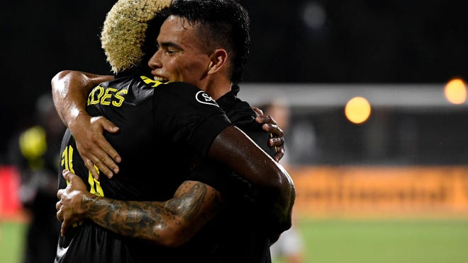 Forward Gyasi Zardes, left, and midfielder Lucas Zelarayan scored six of the Crew's eight goals in the MSL is Back tournament, so the team is getting production from its two highest-paid players.