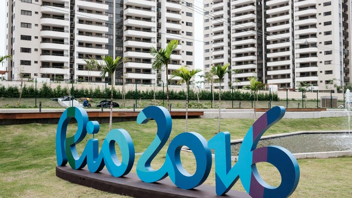 A logo of Rio 2016 is seen at the Olympic and Paralympic Village in Rio de Janeiro, Brazil.