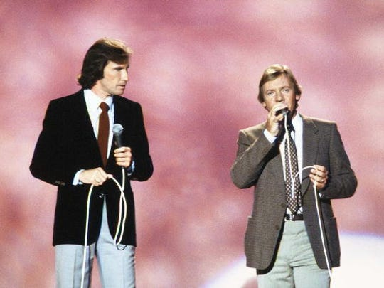 "The Righteous Brothers (from left, Bill Medley and Bobby Hatfield) perform on ""American Bandstand's"" 30th Anniversary Special in 1981."