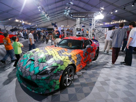 A unique paint job on a Dodge Viper Sunday, Jan. 18,