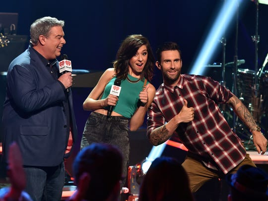 BURBANK, CA - AUGUST 26:  Radio personality Elvis Duran, singers Christina Grimmie and Adam Levine speak onstage druing the iHeartRadio Album Release Party with Maroon 5 LIVE on the CW at iHeartRadio Theater on August 26, 2014 in Burbank, California.  (Photo by Kevin Winter/Getty Images for Clear Channel)