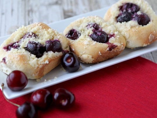 Sweet cherry-filled buns, also known as Vatrushki.