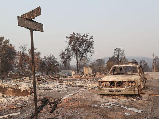A home at the corner of Stone St. and Center St. in Keswick was destroyed in the Carr Fire, August 3, 2018