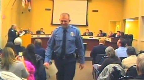 Darren Wilson at a Ferguson City Council meeting in February.