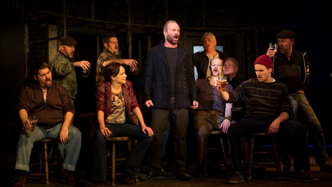 """Sting (center) as Jackie White in the Broadway musical """"The Last Ship"""""""