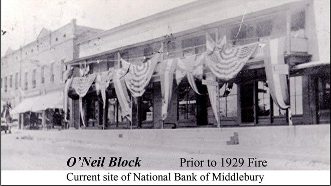 O'Neil Block prior to the 1929 fire. This is now the site of the National Bank of Middlebury.
