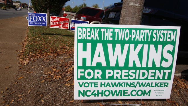 Two small political parties in North Carolina, the Constitution Party of North Carolina and North Carolina Green Party, are no longer officially recognized because they failed to meet candidate support thresholds in November, the State Board of Elections announced Wednesday. This photo shows a lone third party presidential candidate sign asking voters to consider Howie Hawkins of the Green Party outside the Gaston County Board of Elections on Oct. 22, 2020.