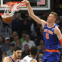 Kristaps Porzingis photographed working on shooting as he recovers from torn ACL
