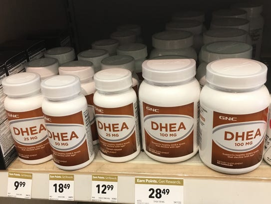 DHEA, shown in a GNC store, is a steroid hormone that
