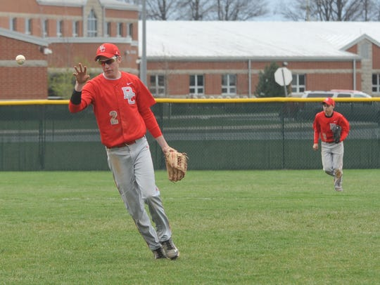 Josh Dentinger flicks the ball to his pitcher following