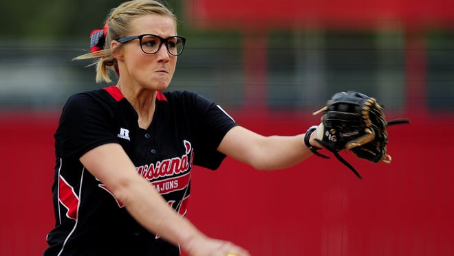 UL pitcher Christina Hamilton (17) begins to unleash a pitch during a win last week against Sam Houston State.