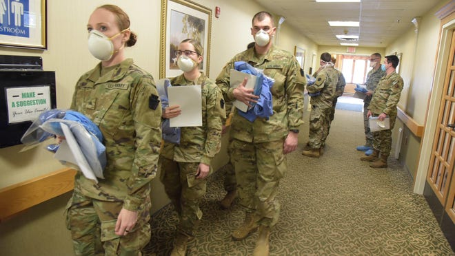 The Pennsylvania National Guard deployed a Joint Force Medical Strike Team to assist at a rehab and nursing home in Delaware County starting April 18.  The team consists of 12 Army National Guard medics from 2nd Squadron, 104th Cavalry Regiment and 6 nurses from the PA Air National Guard's, 193rd Det 1, from Ft. Indiantown Gap.