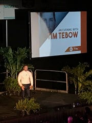 Tim Tebow speaks at a fundraiser Oct. 8, 2017, at Florida Tech's Clemente Center in Melbourne.